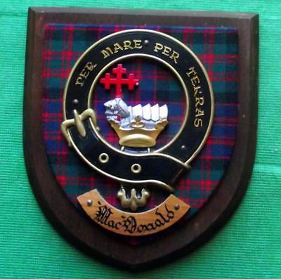 Vintage Old Scottish Carved Oak Clan MACDONALD Tartan Plaque Crest Shield  z