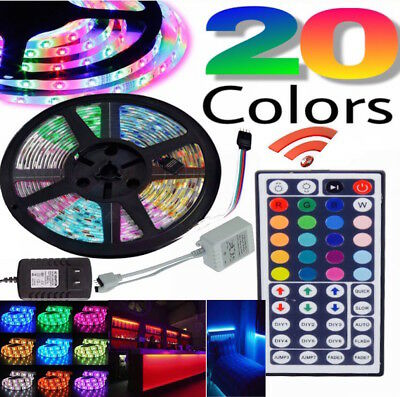 RGB 5050 Waterproof LED Light Strip SMD 44 Key Remote 12V US Power 5M Full Kit