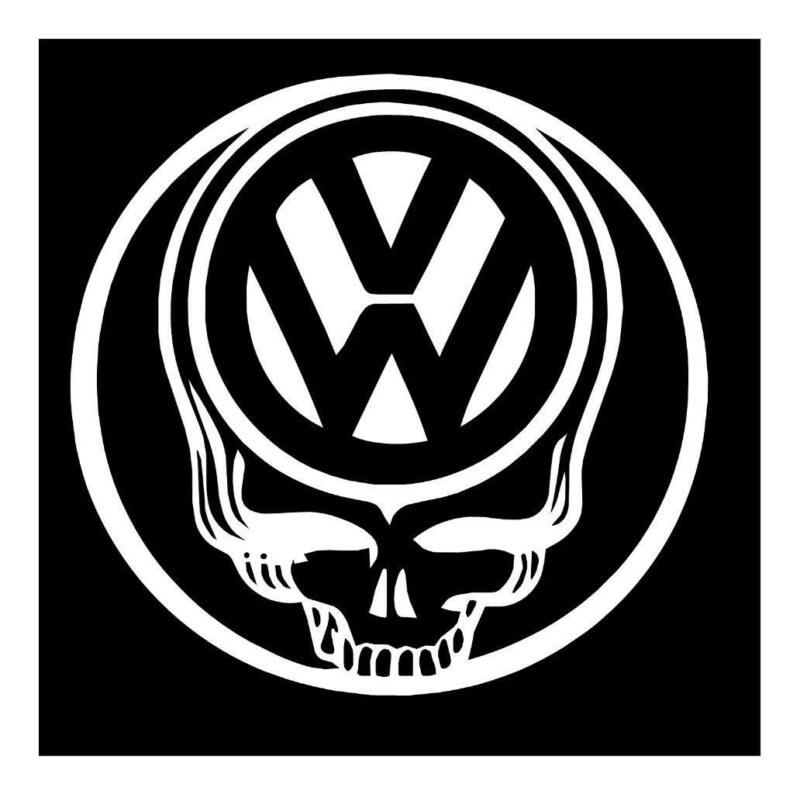 GRATEFUL DEAD VOLKSWAGEN SKULL 5X5 JERRY GARCIA VW VINYL WINDOW DECAL STICKER