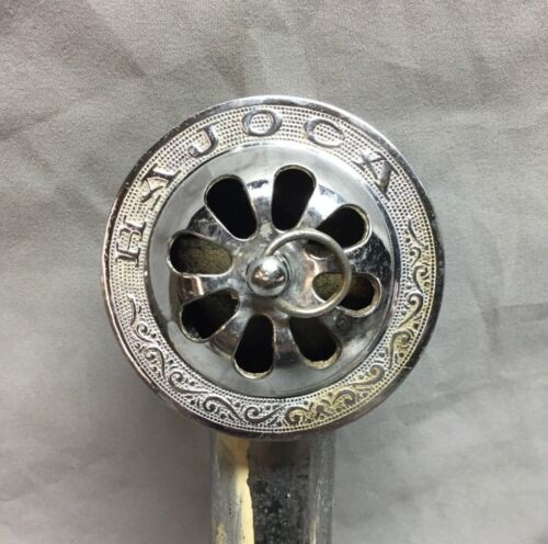 Antique Hajoca Bathtub Overflow Drain Nickel Decorative Vintage Old 198-18C