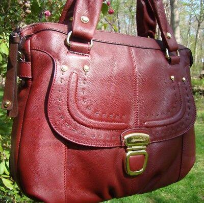 NEW B Makowsky CLARET Billie Leather TOTE! Goldtone Details, MSRP $288, Red