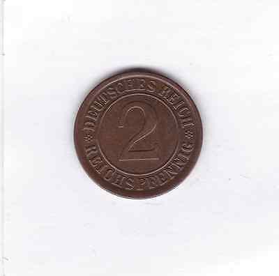2 Pfennig 1924 A Reichspfennig Deutsches Reich German Empire prima Erhaltung