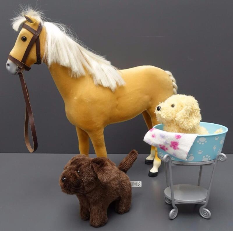 Lot American Girl Doll Pets Palomino Horse Honey Chocolate Chip Dog Puppy + Bath