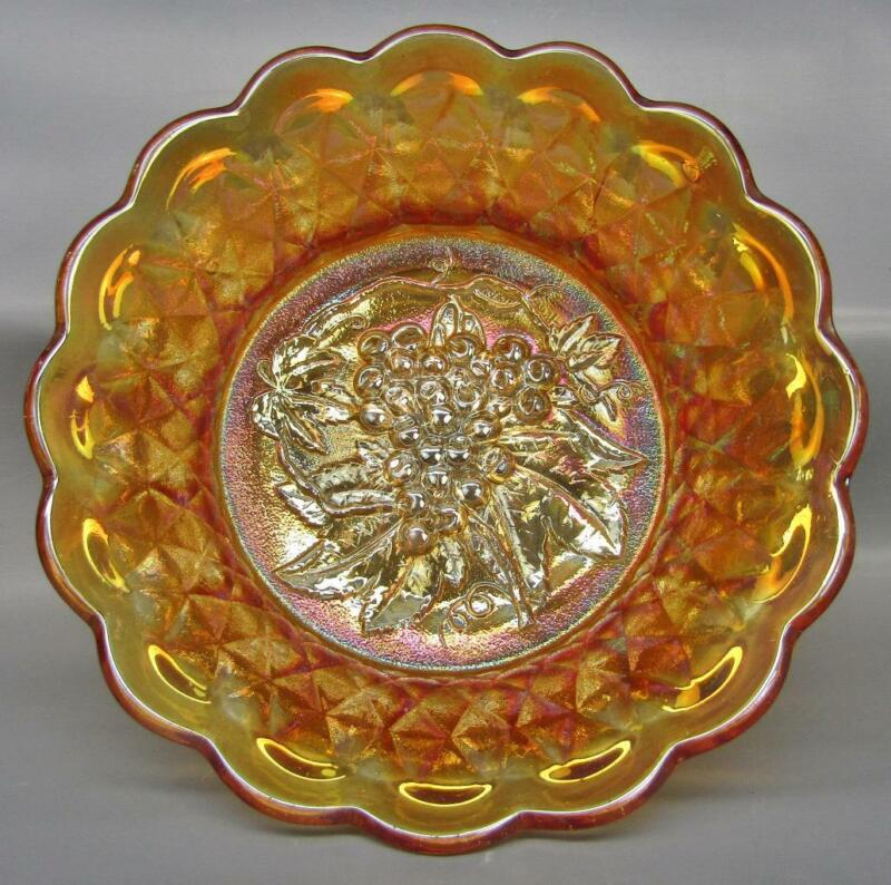 """Imperial HEAVY GRAPE with FLUTE Exterior Marigold Carnival Glass 9"""" Bowl  7365"""