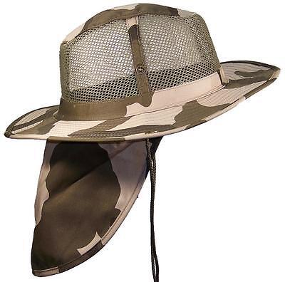Summer Wide Brim Mesh Safari/Outback Hat W/Neck Flap #982 Desert Camo M