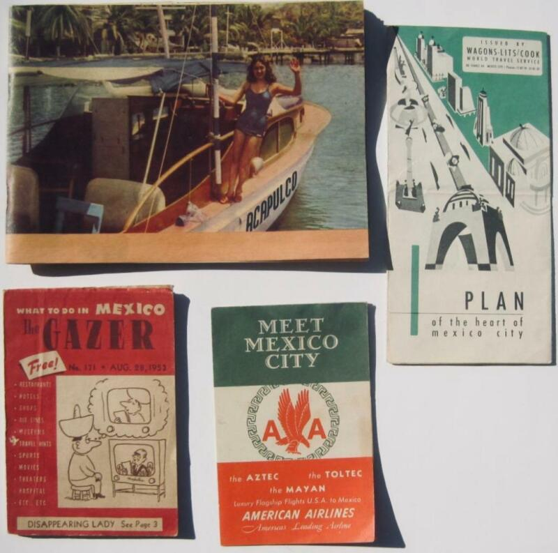 Lot 4 Mexico Guides maps 1952-53 Acapulco  Mexico City American Airlines