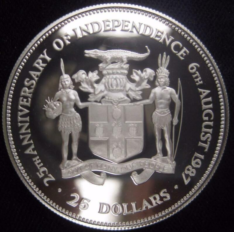 Jamaica 25 Dollars Proof 1987 25 years Independence low mintage 1900 silver 190