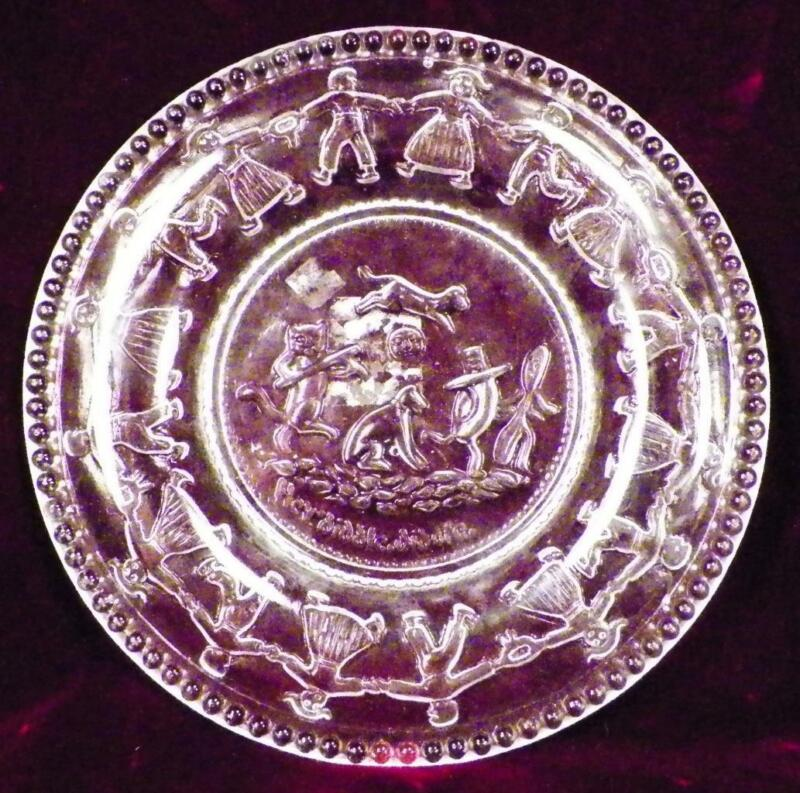 Vintage Childs Plate Hey Diddle Diddle Cow Jumped Over the Moon Pressed Glass