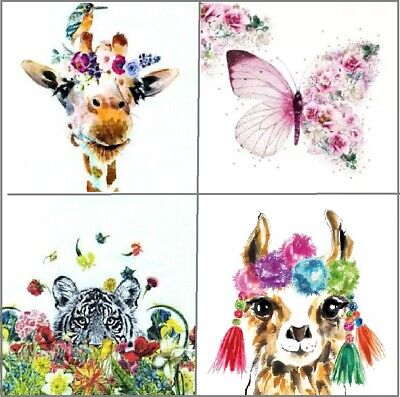 4 Different Vintage Table Paper Napkins for Party Lunch Decoupage Funny Animals