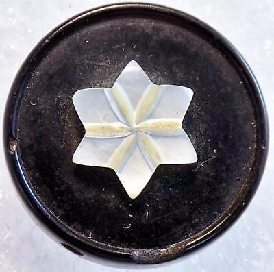 Large Antique Pressed Horn Button Mother of Pearl Snowflake Star Overlay (Snowflake Overlay)