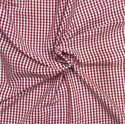 Red & White Checker 100% Cotton Yarn-Dyed Seersucker Fabric Sold by the Yard