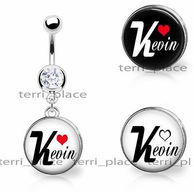 Custom Name & Heart Glass Top Belly Ring Navel Piercings CZ Gem 14ga 3/8