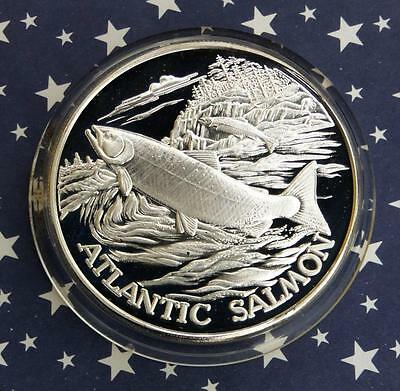 Atlantic Salmon 2 Troy Oz .999 Fine Silver North American Wildlife Series (North Atlantic Salmon)