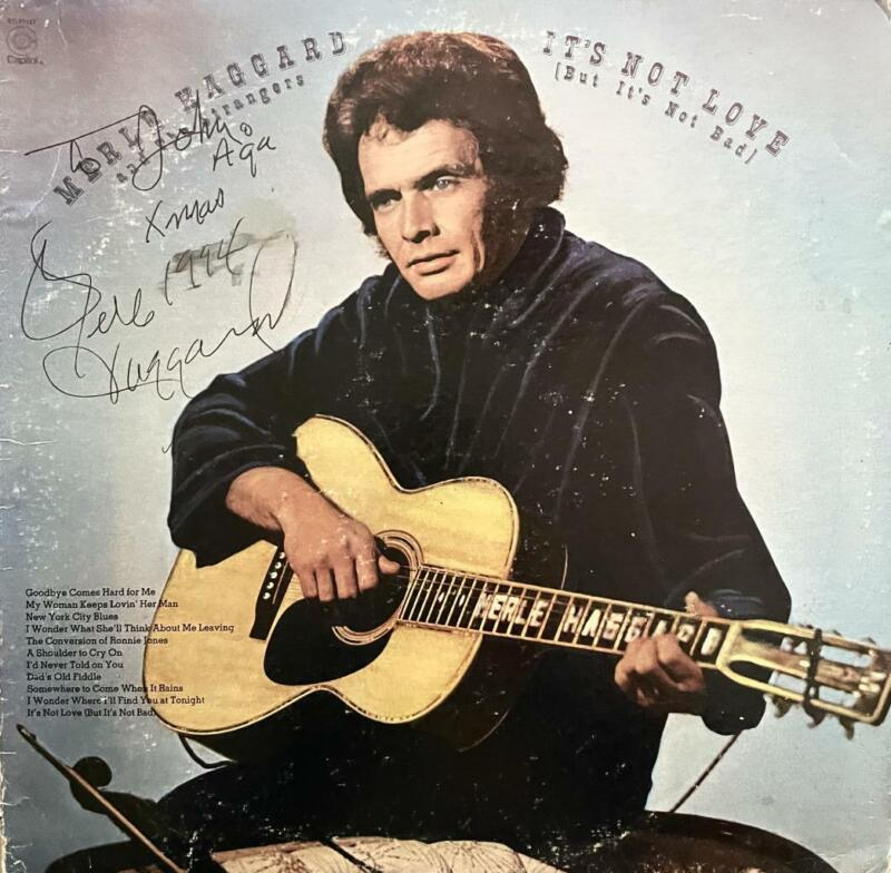 """MERLE HAGGARD HAND SIGNED AUTOGRAPH LP ALBUM """"ITS NOT LOVE"""""""