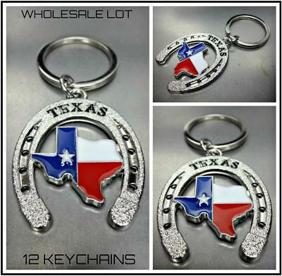 WHOLESALE LOT TEXAS Map Horseshoe KeyChain Key Ring Souvenir Gift 12 Key Chains