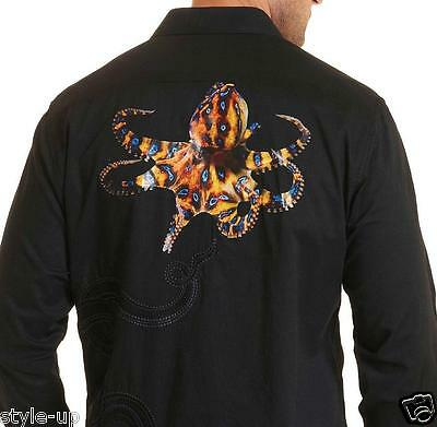 Robert Graham Stunning Octopus Printed   Embroidered   Xs S M L Xl 2Xl 3Xl  New