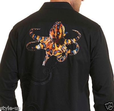 Robert Graham Stunning Octopus Printed Embroidered   Xs S M L Xl 2Xl 3Xl   New