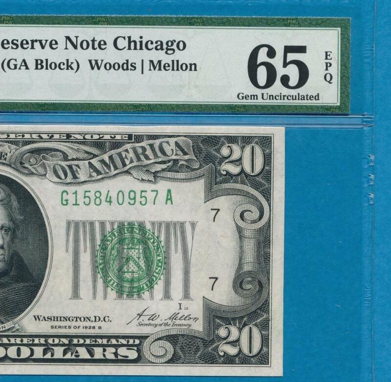 $20. 1928-B CHICAGO  DISTRICT REDEEMABLE IN GOLD CLAUSE FRN  PMG GEM NEW 65EPQ