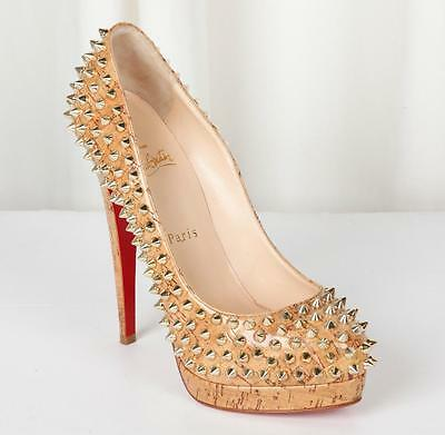 CHRISTIAN LOUBOUTIN Gold Spike ALTI Glazed Cork High-Heel Platform Pump 7.5-37.5
