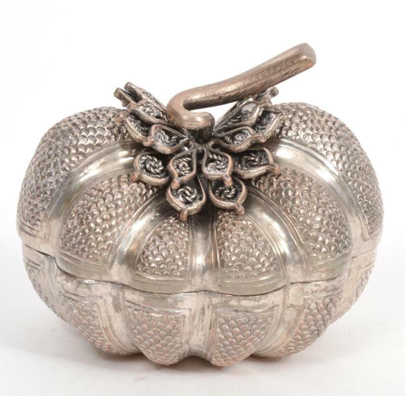 Cambodian 900 Silver Trinket Box Pumpkin Shaped, Solid Stem, 55 grams