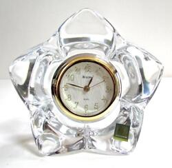 Bulova B7796/97 Hoya Japanese Leaded Crystal Quartz Desk Clock Shelf Mantel