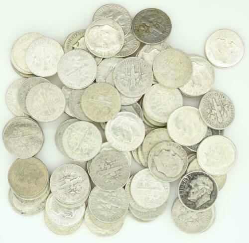 Roosevelt Dimes $10 Face Value 90% Silver 2 Rolls 100 Coin Bulk Lot Collection