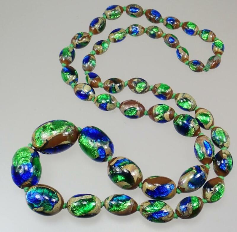 Intense Vintage Art Deco Czech Bohemian Peacock Foiled Glass Bead Necklace