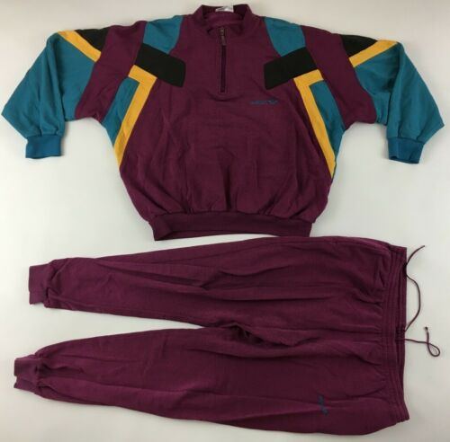 Adidas 1990s beetroot purple tracksuit ¼ zip jacket + bottoms pants vintage L D7