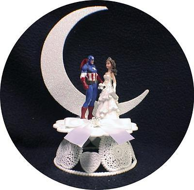 Captain America Wedding Cake Topper Top Super Hero moon funny Marvel Funny (Superhero Wedding)