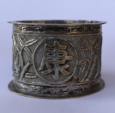 Vintage 19thc Japanese Bamboo & Characters Symbol Sterling Silver Napkin Rings