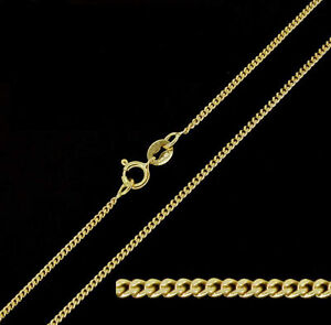 9ct Solid Yellow Gold Fine Diamond Cut Curb Chain Necklace 16