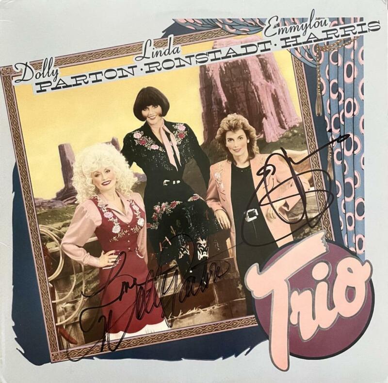 "DOLLY PARTON,EMMY LOU HARRIS,LINDA RONSTADT SIGNED LP ALBUM ""TRIO"""