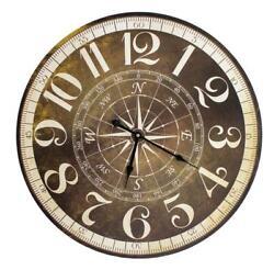 23 Round Wall Clock With Compass Rose Motif Dial Nautical Marine Compass Clocks