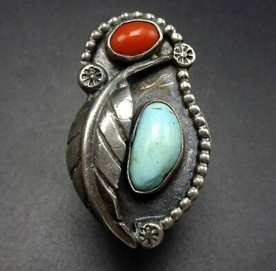 1940s Jewelry Styles and History Vintage 1940s NAVAJO Sterling Silver CORAL & TURQUOISE RING, size 6.75, 12.6g $197.33 AT vintagedancer.com