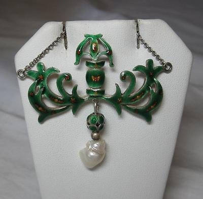 Art Nouveau Necklace Silver Enamel Butterfly Flower Pearl Victorian Antique Rare