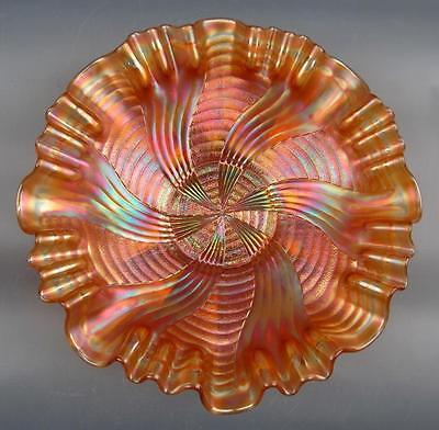 """CARNIVAL GLASS - FENTON Dark Marigold RIBBON TIE 3-IN-1 Edge 9"""" Bowl"""