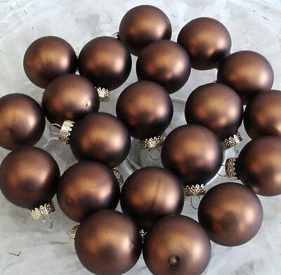 12 Chocolate Brown Halloween Christmas Glass Ball Feather Tree Ornaments