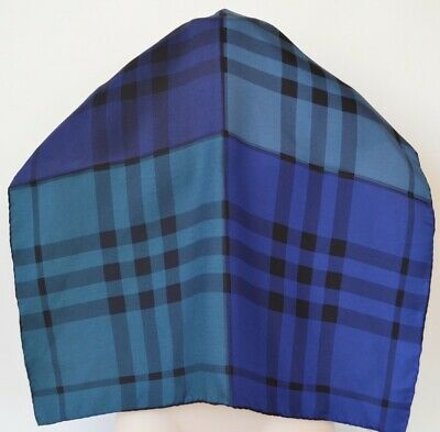Burberry Silk Twill Color Block Blue Nova Check Square Neck Scarf DEFECT LISTING