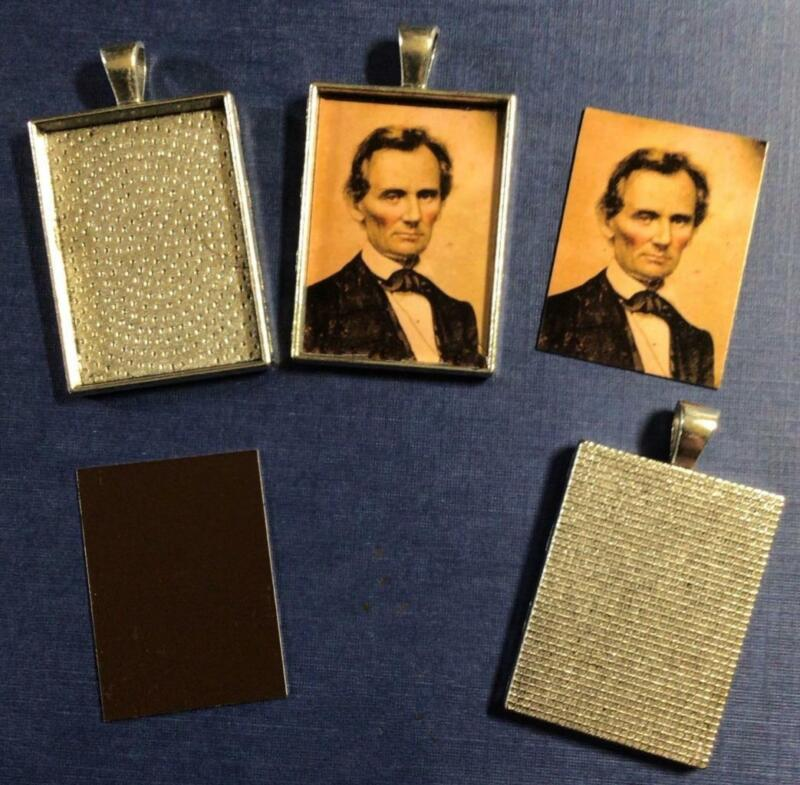 Abraham Lincoln 25mm X 35mm Gem size Tintype In Antique Silver Cabochon