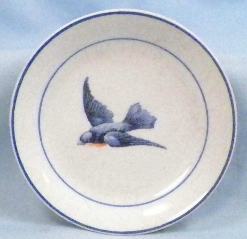 Antique Bluebird Butter Pat Earthenware Fine Crazing A Little Paint Wear #3