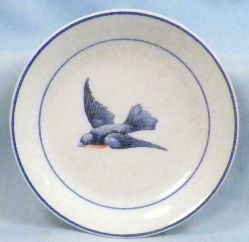 Antique Bluebird Butter Pat Earthenware Crazing #2