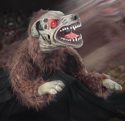 ANIMATED LIFE SIZE Lunging JUMPING Mad DEMON Dog Halloween Spirit HAUNT PROP - Lunging Mad Dog Halloween Prop