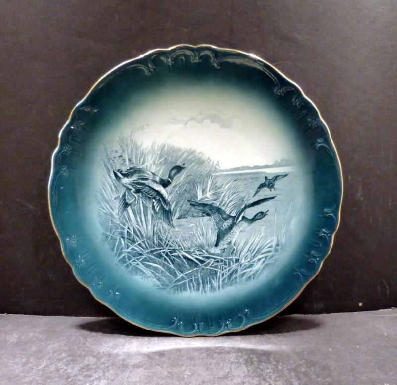 "Buffalo Pottery Wild Ducks Blue Green Plate - 9 1/4"" - MINT (B)"