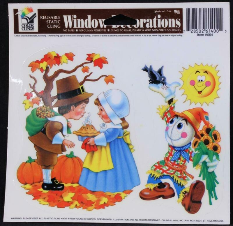 Thanksgiving Color Clings Window Decorations Reusable MADE IN THE USA