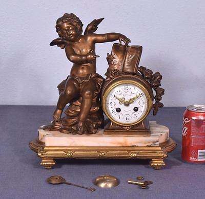 Antique French Clock Romantic Theme Marble & Gilt Spelter w/Cherub