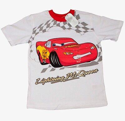 Disney Official Cars Lightning McQueen Kids Boys Pyjamas 100% Cotton T-Shirt Top