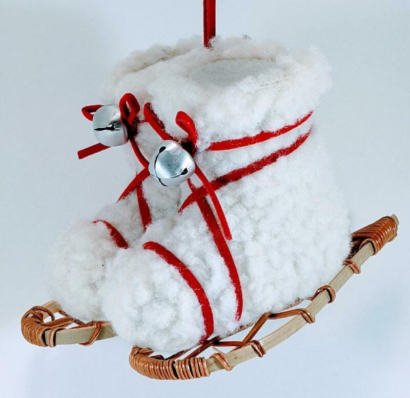 Holiday Lane Fleece Snowshoe Boots Christmas Ornament New