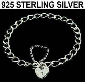 LADIES 925 STERLING SILVER CURB LINK CHAIN CHARM BRACELET WITH HEART PADLOCK