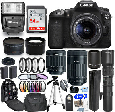 Canon EOS 90D Camera W/ 18-55mm + 55-250mm + 500mm/1000mm 64GB Top Value Bundle