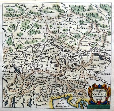 NORICI ITALY AUSTRIA SLOVENIA BY CLUVER / BERTIUS c1661 GENUINE 350 YEAR OLD MAP